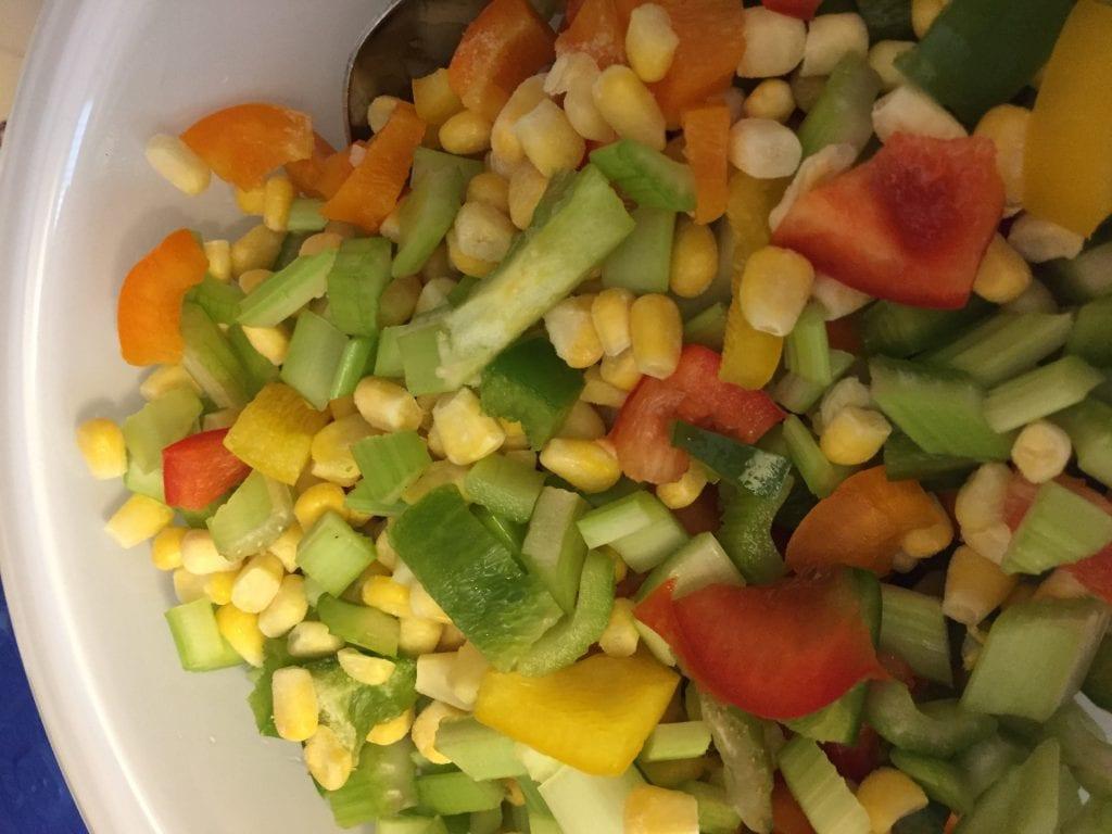 Veggies for southwest chicken salsa soup