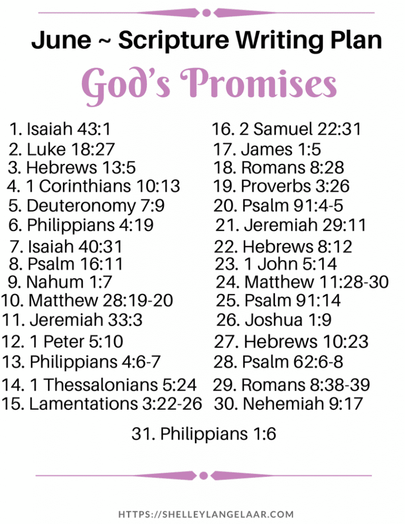 God's Promises Scripture Writing Plan