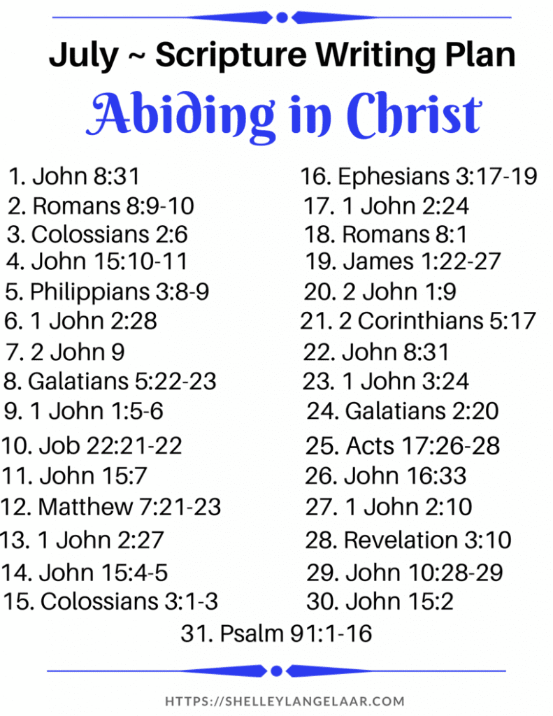 Abiding in Christ bible writing plan