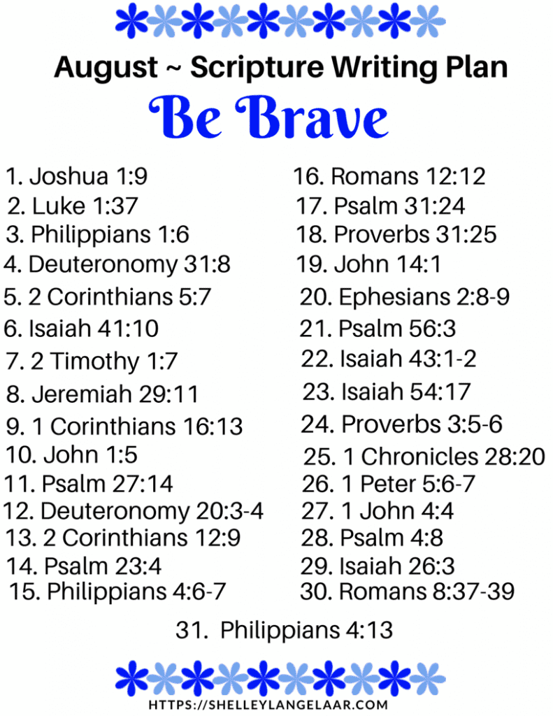 Scripture Writing plan challenge be brave